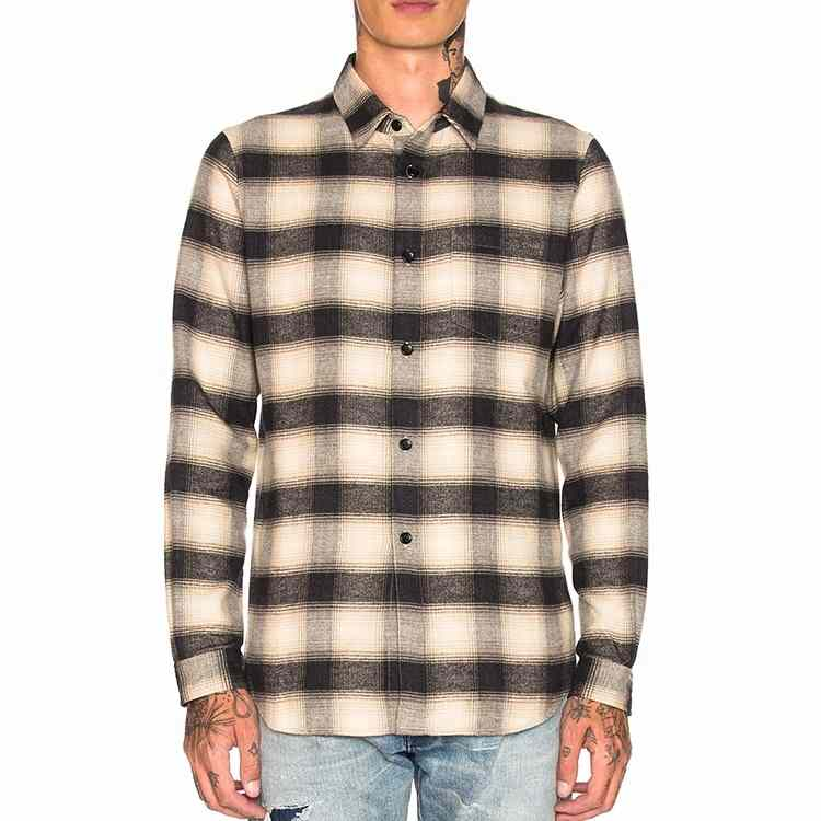 Wholesale Beige Cotton Flannel Shirt Manufacturer