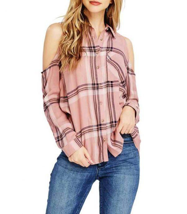 Wholesale Cotton Blends Cold Shoulder Flannel Shirt Manufacturer