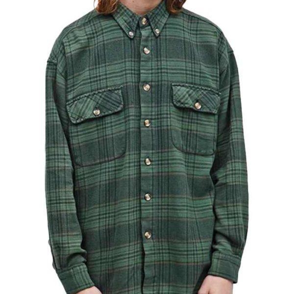 Wholesale Mens Green Vintage Flannel Shirt Manufacturer