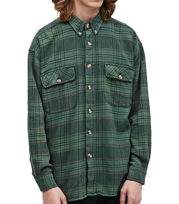 Wholesale Mens Green Vintage Flannel Shirt Manufacturer