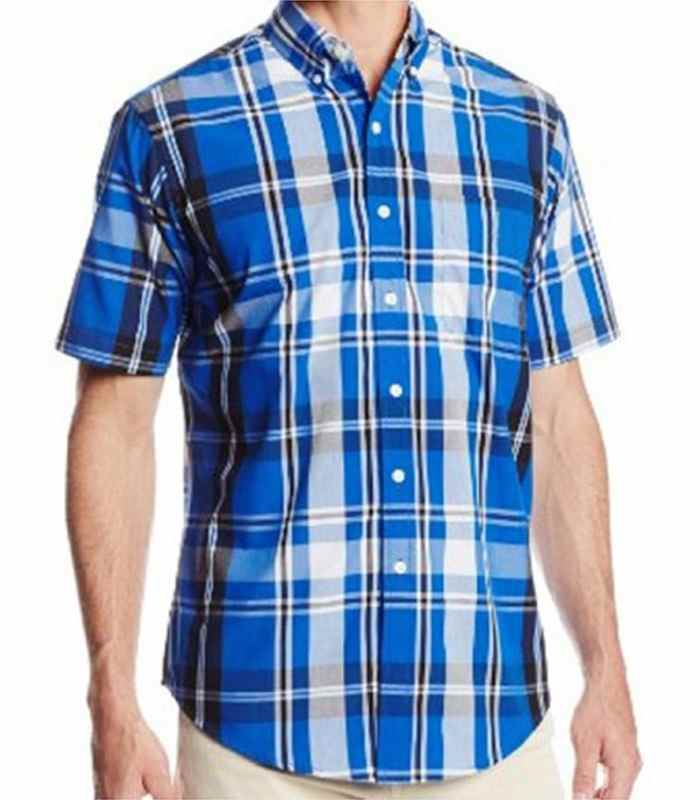 Wholesale Blue Short Sleeve Vintage Flannel Shirt Manufacturer