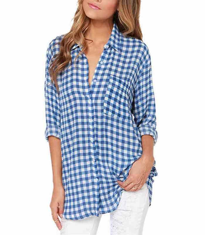 Wholesale Womens Autumn Casual Blue Flannel Shirt Manufacturer