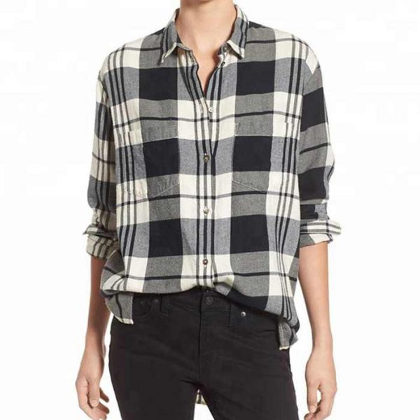 Wholesale Womens Black and White Flannel Shirt Manufacturer
