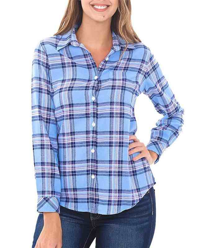 Wholesale Womens Blue Check Flannel Shirt Manufacturer