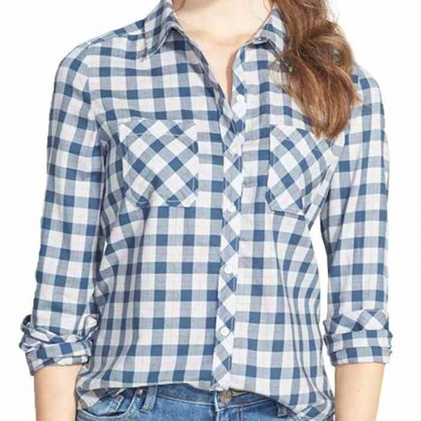 1Wholesale Womens Blue Cotton Flannel Shirt Manufacturer