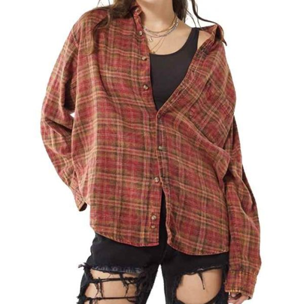 Wholesale Womens Button Down Lady Check Flannel Shirt Manufacturer