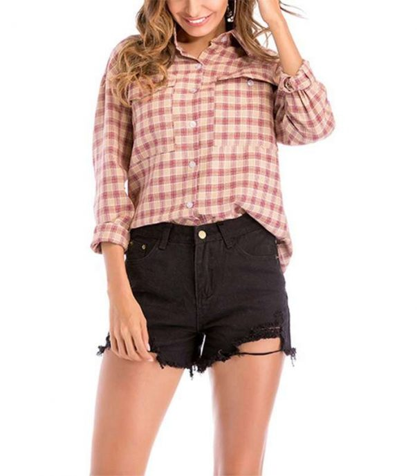 Wholesale Womens Trendy Long Sleeve Flannel Shirt Manufacturer
